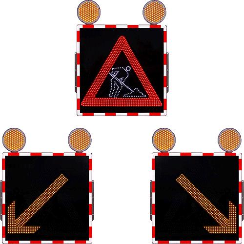Promjenjiva mobilna prometna signalizacija s piktogramima - žuta strelica - radovi na cesti